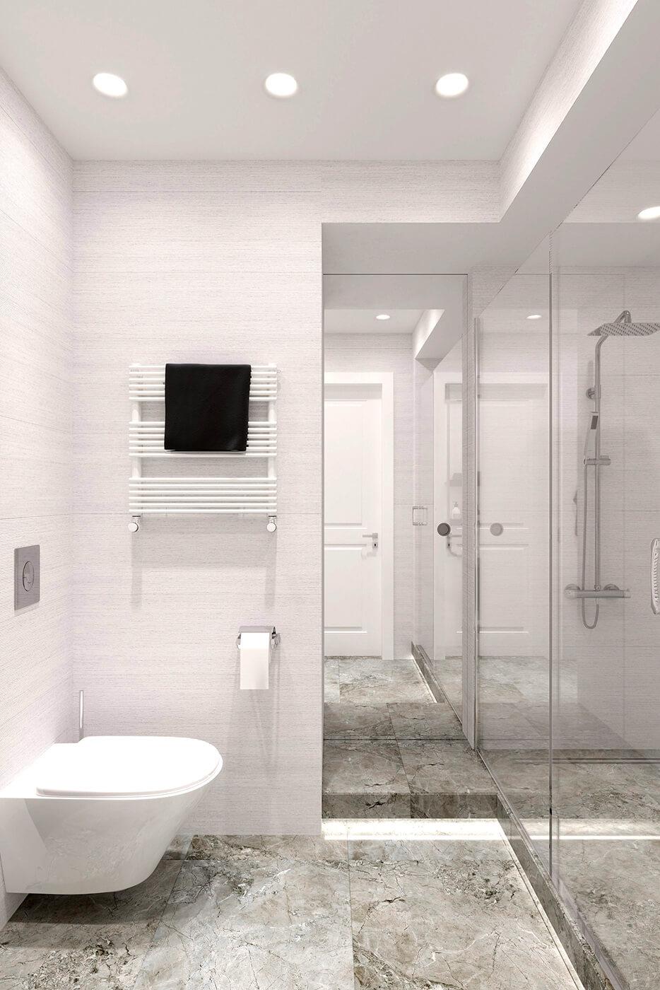 Гостевой туалет квартира ЖК Триуфм Астана. Дизайн интерьера