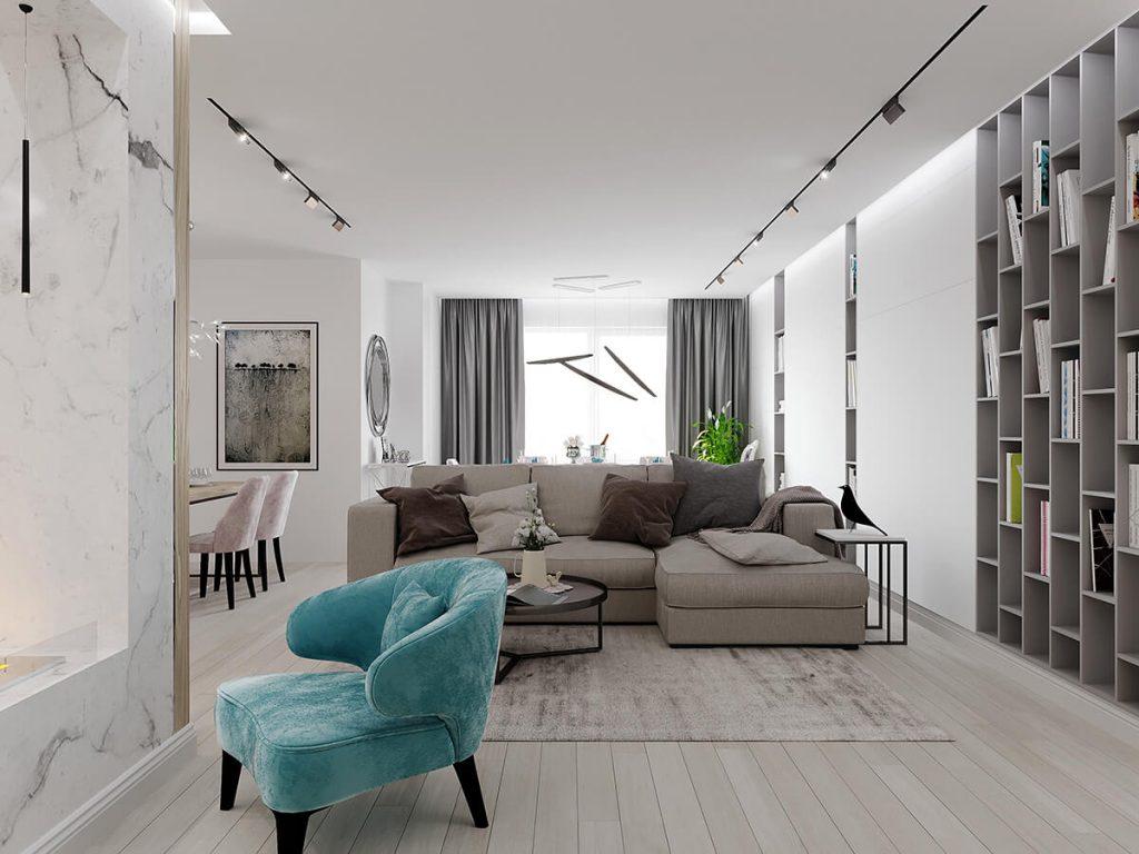 Гостиная квартира ЖК Триуфм Астана. Дизайн интерьера