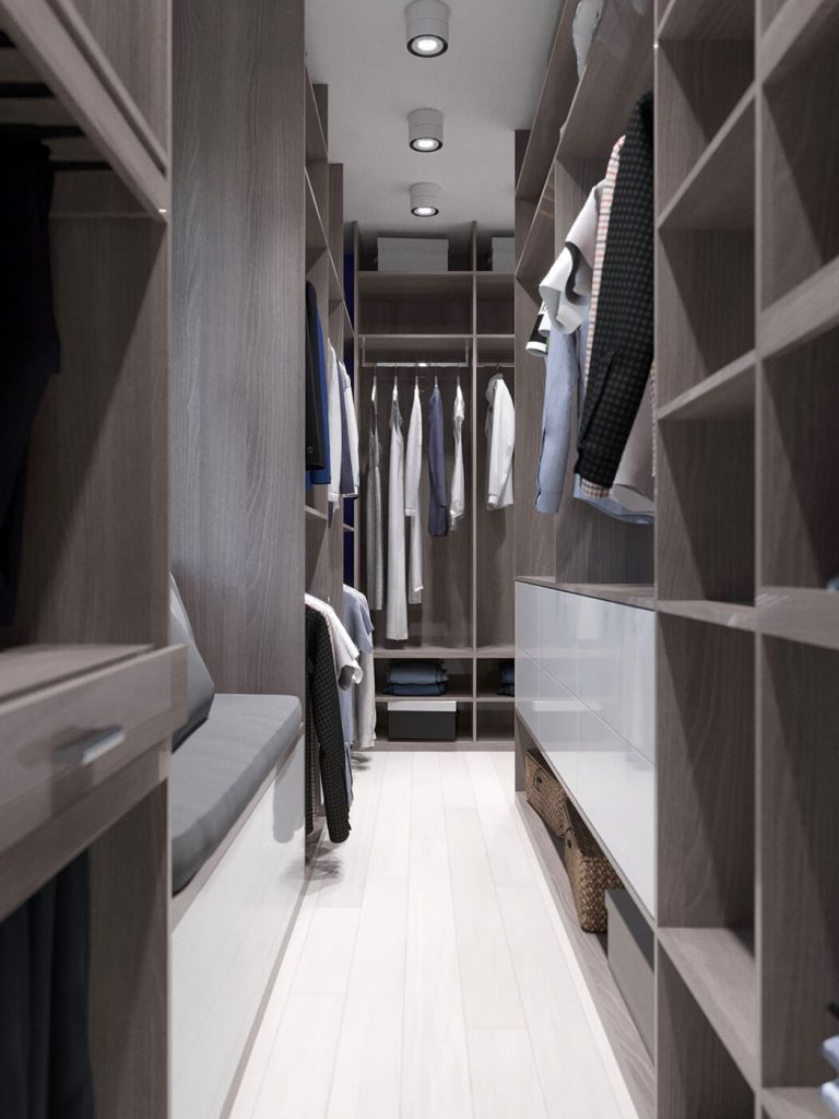 Гардеробная комната квартира ЖК Триуфм Астана. Дизайн интерьера