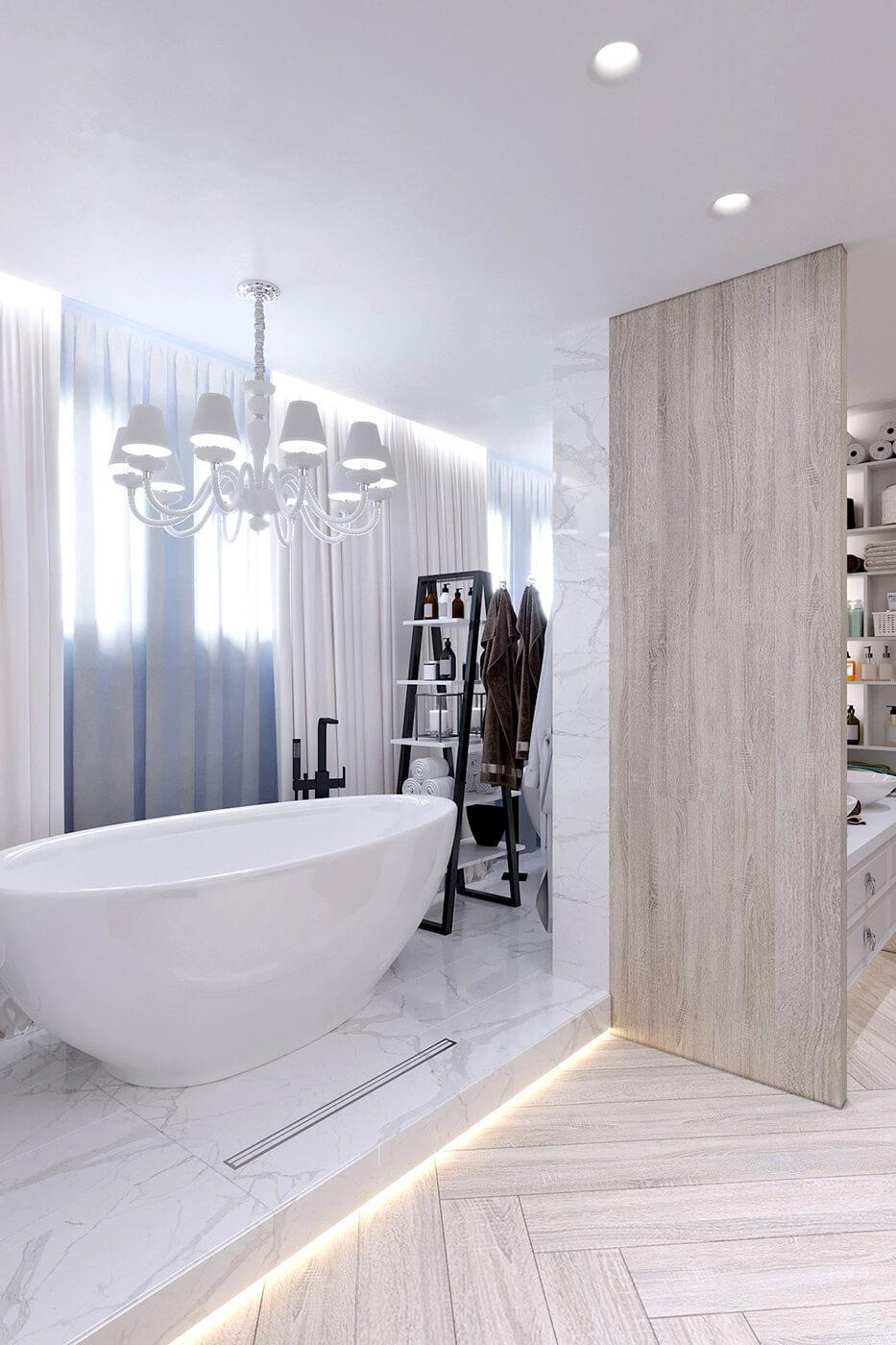 Ванная комната квартира ЖК Триуфм Астана. Дизайн интерьера