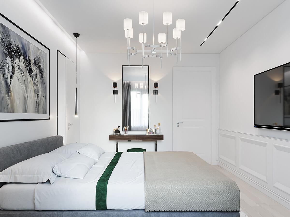Спальная комната квартира ЖК Триуфм Астана. Дизайн интерьера
