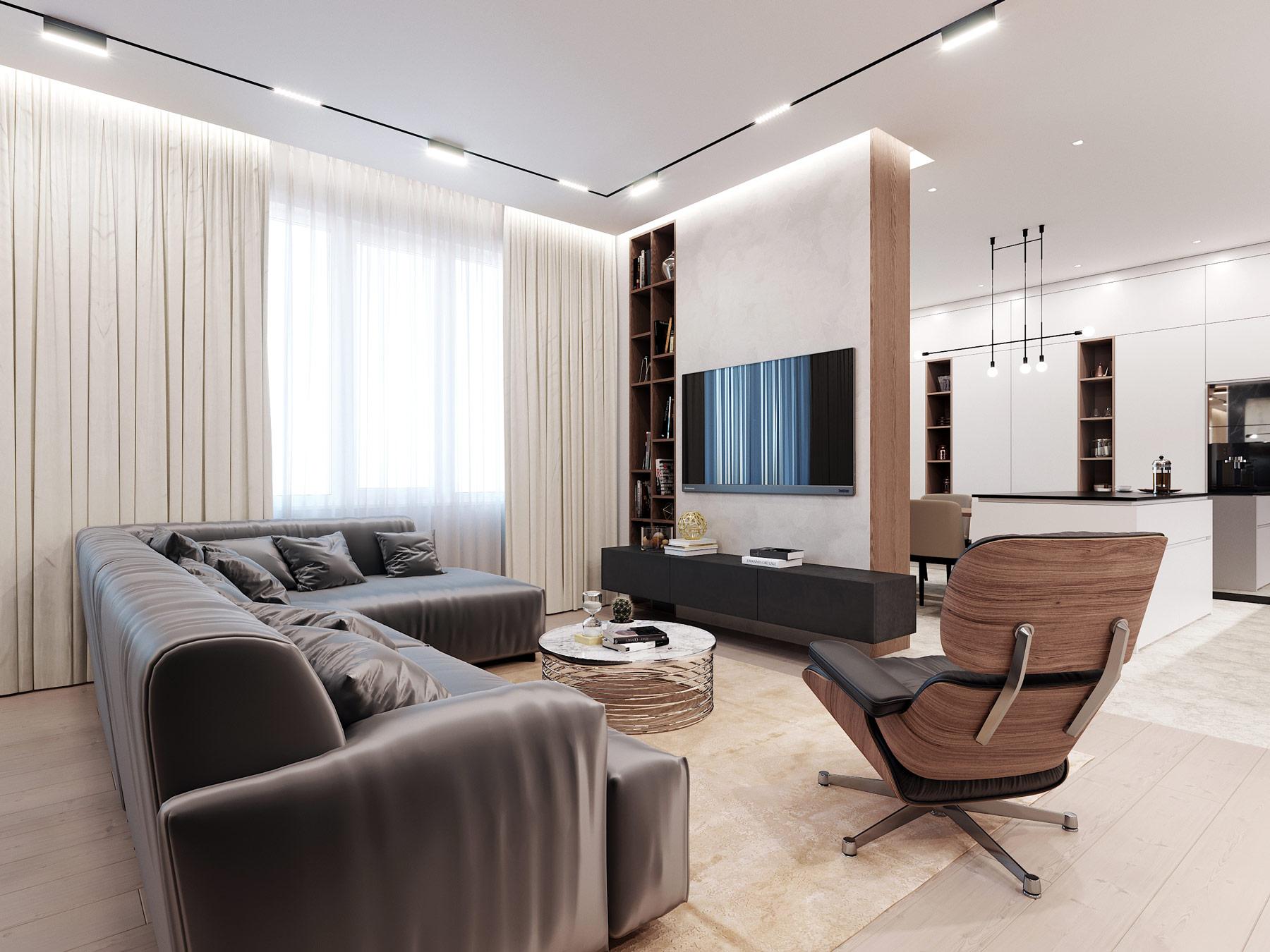 Дизайн интерьера квартиры в ЖК Парк авеню - гостиная
