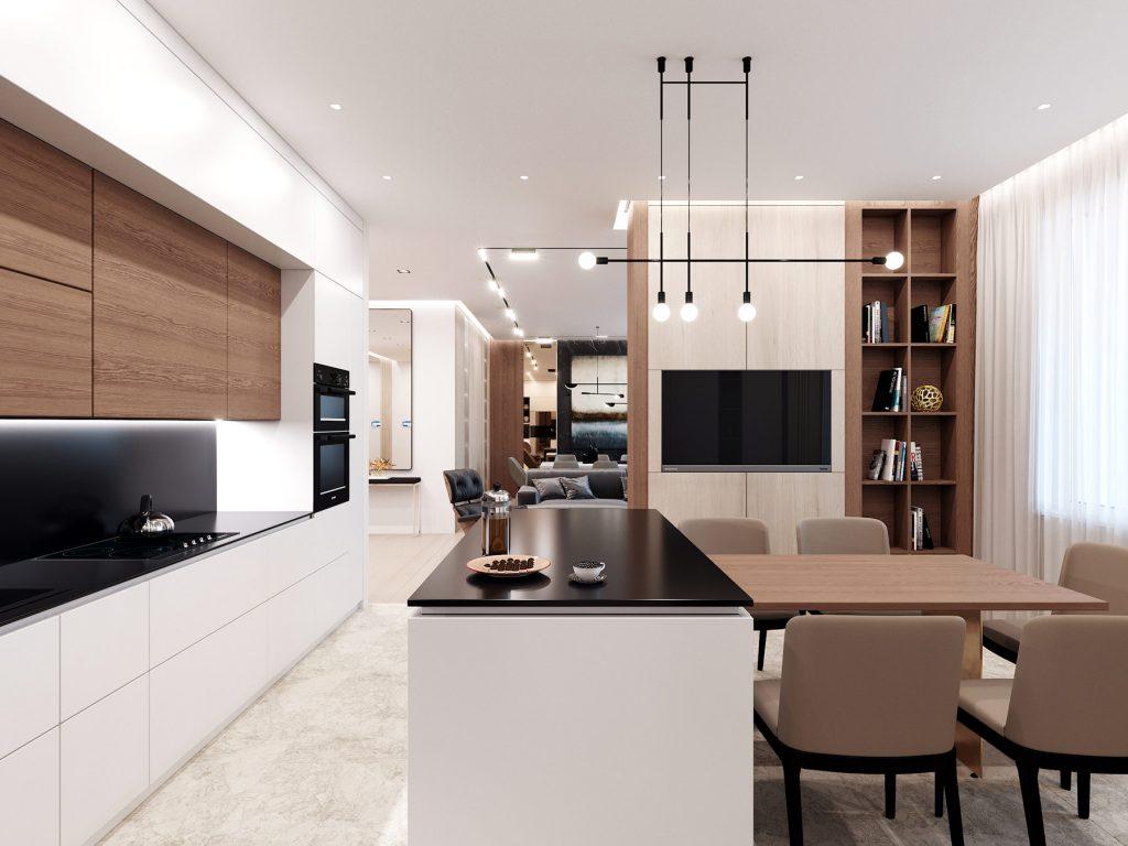 Дизайн интерьера квартиры в ЖК Парк авеню - кухня