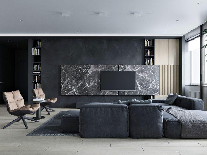 Дизайн квартиры в ЖК Park house - Гостиная-кухня